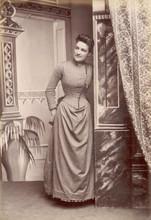 Photo - Stripe Dress 1880s. Date: 1880s
