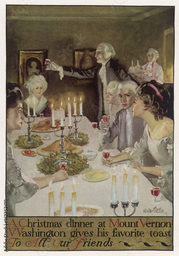 Valokuvatapetti Washington Xmas Dinner. Date: circa 1790