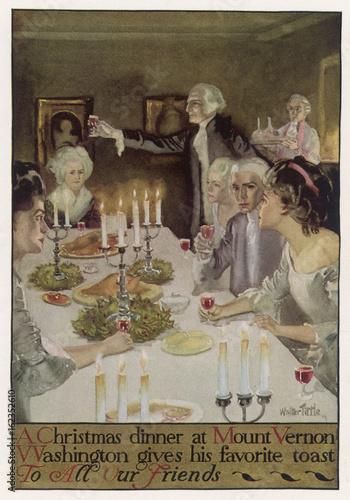 Vászonkép Washington Xmas Dinner. Date: circa 1790