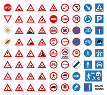 Traffic Road Signs Set Isolated On The White