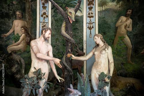 Sacro Monte di Varallo, Piedmont, Italy, June 02 2017 - biblical characters scen Canvas Print