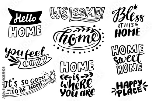 Vászonkép  Home vector lettering set