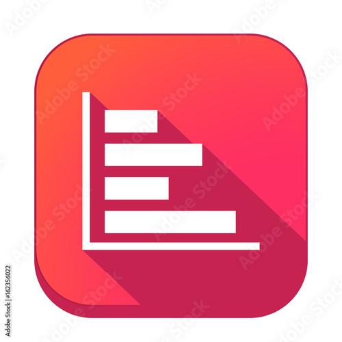 Fotografie, Obraz  ikona z długim cieniem na tle zaokrąglonego kwadratu