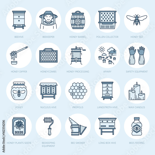Beekeeping, apiculture line icons Canvas Print