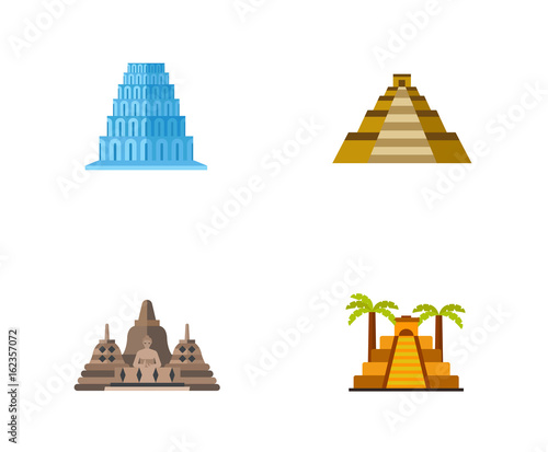 Pyramids icon set Canvas Print