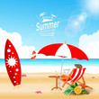 Summer Surfing time brochure with isolated elements