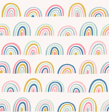 Hand Drawn Geometric Abstract Pattern. Cute Rainbow Vector Seamless Background In Doodle Style. Bright Colors.