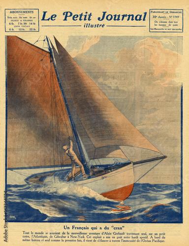 Alain Gerbault Sails. Date: 1924 Canvas Print