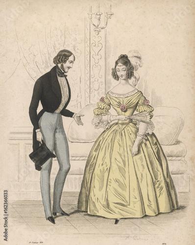 Evening Dress 1839. Date: 1839 Canvas Print
