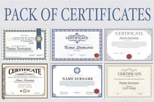 Fotografía  Collection of isolated Certificates in different styles