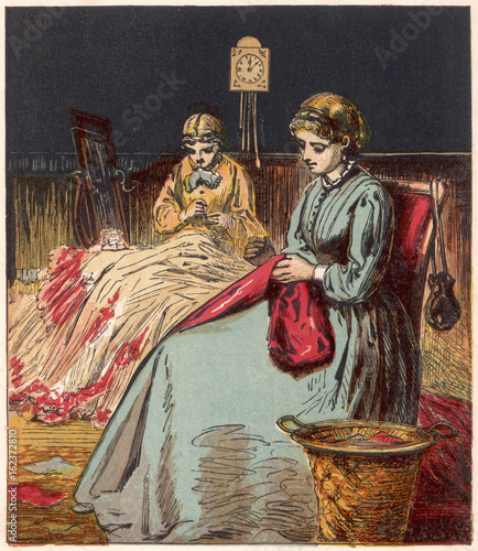 Dressmakers Work at Home. Date: 1867