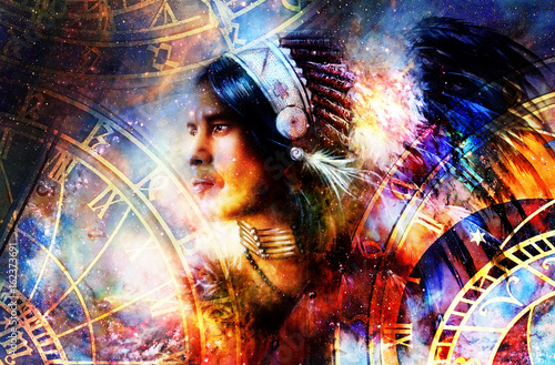 indian warrior wearing a gorgeous feather headdress. Indian spirit and time concept with zodiac. Cosmic background. profile portrait.