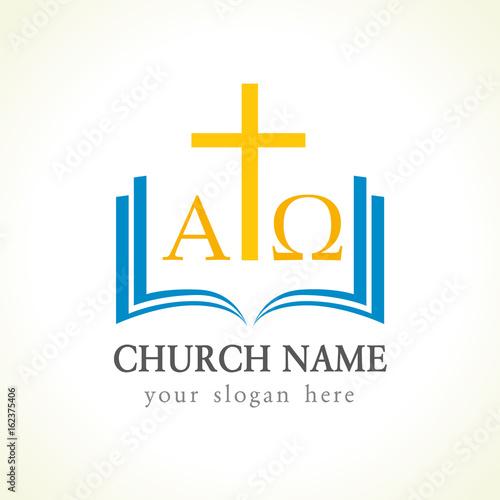 Christian Church Vector Logo Gold Crucifixion Open Blue Book