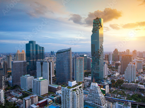 Bangkok view Beautiful  is the new highest building in Bangkok  with sky Beautif Canvas Print