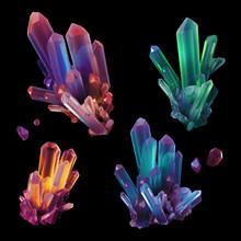 3d Render, Digital Illustration, Assorted Colorful Crystals, Gem, Geology, Nugget, Minerals Collection, Clip Art Set, Isolated On Black Background