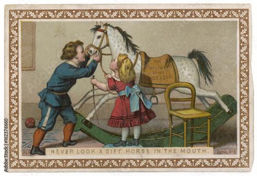 Photo Proverb - Gift Horse. Date: circa 1880