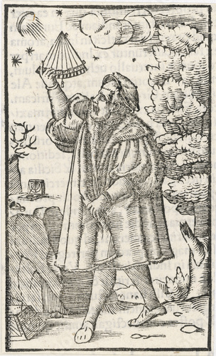 Astronomer Observing the Moon and Stars. Date: 1553 Canvas Print