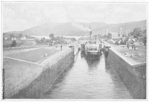 Fotografie, Tablou  Caledonian Canal  - circa 1900. Date: circa 1900