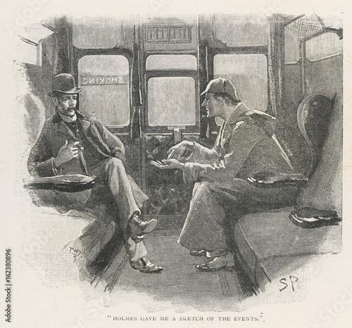 Holmes - Watson - Train. Date: 1892 Wallpaper Mural