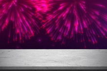 Empty Black And White Marble Table With Blurred Pink Fireworks Light Background - Can Be Used For Display Or Montage Your Products (or Foods)