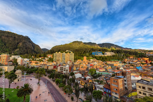 View of Journalist's Park with Monserrate and the candelaria district of Bogota, Colombia Wallpaper Mural