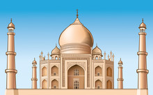 Famous Place - Taj Mahal, Vector Illustration