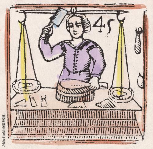 Fotografie, Obraz  17th century Butcher. Date: 17th century