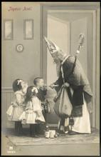 Saint Nicholas Giving Christmas Presents To Children. Date: 1907