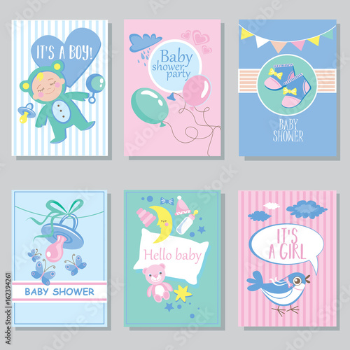 Baby Shower Card Set For Boy For Girl Happy Birthday Party It S A