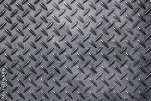 Anti slip gray metal plate with diamond pattern Canvas Print