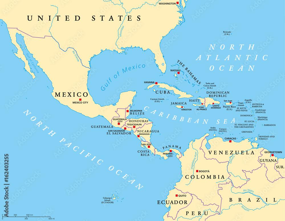 Mapa Polityczna Ameryki Srodkowej Ze Stolicami I Granicami