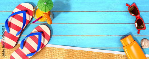Summer panorama with beach accessories on blue planks