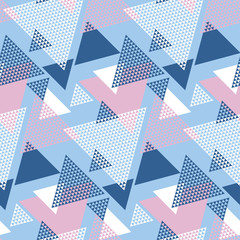 FototapetaBlu and rosy color geometry modern motif vector illustration. Mosaic triangle seamless pattern for wrapping paper, background, fabric, surface design..