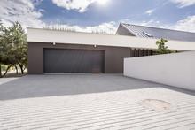 Modern Garage With Big Driveway