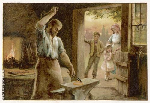 Village Blacksmith. Date: circa 1880 Canvas Print