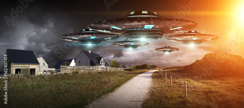 Photographie UFO invasion on planet earth landascape 3D rendering
