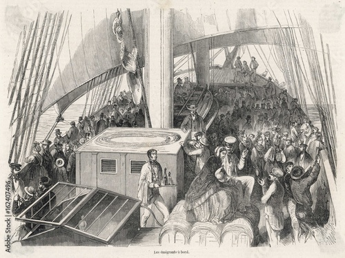 Emigrants from Strasbourg head for America. Date: 1854 Wallpaper Mural