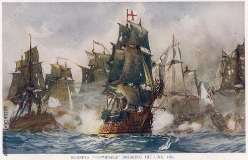 Fotografie, Obraz  Naval Battle 1782. Date: 12 April 1782