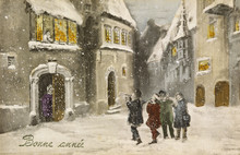 Carols In A French Street. Date: 1913