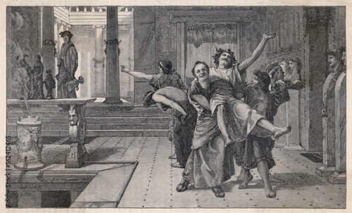 Ancient Romans celebrating the Saturnalia. Date: circa 200 BC Canvas Print