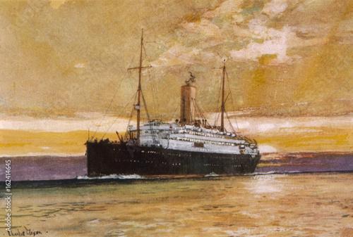 Steamship Arcadian. Date: 1923 Canvas Print