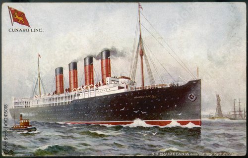 Mauretania Postcard. Date: launched 1907 Canvas Print