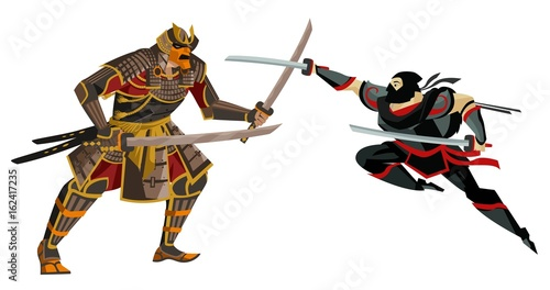 Fotografie, Obraz samurari warrior fighting a ninja