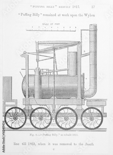 Photo  Puffing Billy  Hedley's improved Wylam engine. Date: 1815