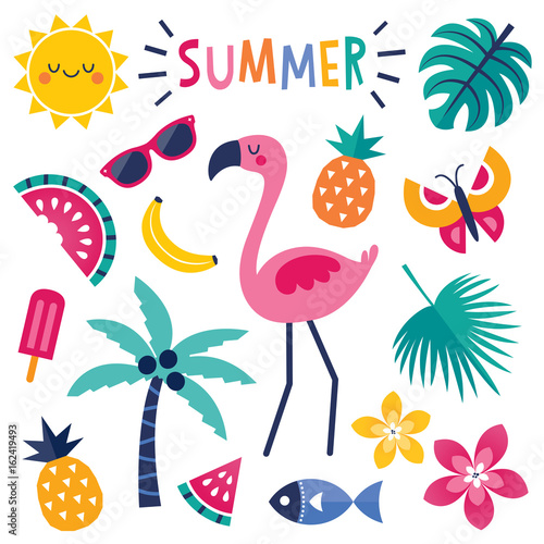set of colorful summer elements with pink flamingo isolated Fotomurales