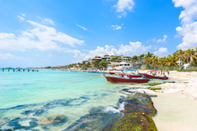 Playa Del Carmen - Relaxing On Chair At Paradise Beach And City At Caribbean Coast Of Quintana Roo, Mexico