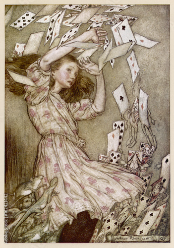 Alice - Cards Fly Up. Date: 1865 Canvas Print