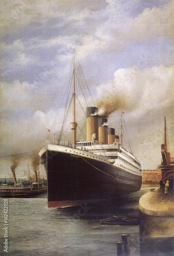 RMS Titanic docked. Date: 1912 Wallpaper Mural