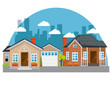 colorful houses in neighborhood icon vector illustration graphic design