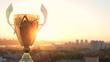 Golden winnet trophy cup on a big city gold sunset background